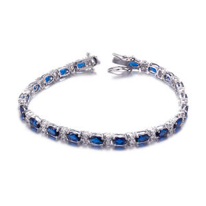 ST2571B Oval Sapphire & White Tennis Bracelet With Toung Clasp In 7.25 Inch Under Rhodium Plated From China Top Jewelry Vendor