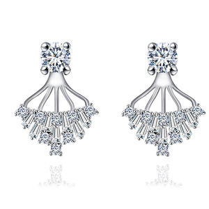ER3630 Round & Baguette Drop Earring Jackets In Sterling Silver Under Rhodium Plated From China Top Jewelry Factory