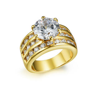 RI2980 14K Yellow Gold Bezel Setting Engagement Ring In Brass From China Reliable Jewelry Manufacturer