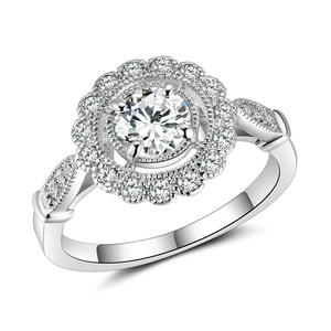 RI4276-6MM AAA White CZ In Center With Small CZ Surrounded Engagement And Wedding Ring Under Rhodium Plated In Sterling Silver From China Top Jewelry Vendor
