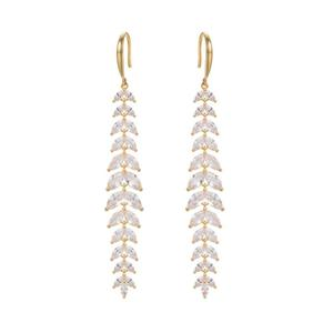 ER4569-Luxury Fishhook Marquises CZ Danling/drop Earring Plated In 14K Gold From China Top Jewelry Manufacturer