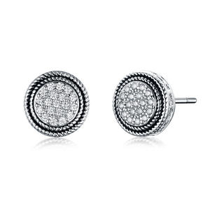 ST2680E-Designer Inspired Antique Cable Texture Round Earring With White Pave Cubic Zircon In Center Under Rhodium Plated From China Top Jewelry Vendor