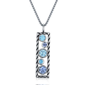 ST2696P-Designer Inspired Cable Texture Rectangle Pendant, With Bezel Setting Tanzanite Cubic Zircon & Aquamarine Spinel In Brass/Copper Under Rhodium Plated From China Top Jewelry Factory