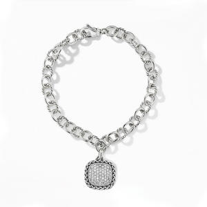ST2758B-Designer Inspired Antique Cable Cirlces Links Bracelet With A Pave White CZ Square Charm In Brass/Copper Plated Rhodium From China Top Jewelry Factory