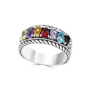 RI4522-Designer Inspired Cable Texture Ring With Multi-color Ring In Silver Plated Rhodium From China Top Jewelry Factory