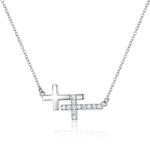 PE3460-Double-Cross Necklace With White CZ In Silver Plated Rhodium From China Top Jewelry Factory