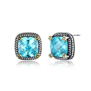 ST2764E-Designer Inspired Cable Two-tone Square Earring With An Aquamarine Stone In Brass From China Reliable Jewelry Manufacturer
