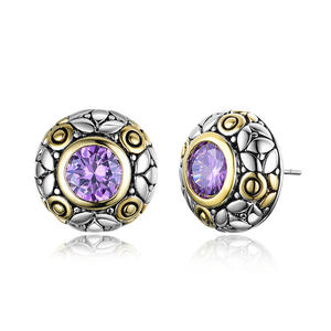 ST2769E-Designer Inspired 2-tone Round Earring With A Bezel Amethyst CZ From China Top Jewelry Factory