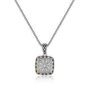 "ST2767P-Designer Inspired 2-tone Squre Pendant With Diamond Shape Texture In Brass  Suspends A 18inch Box Chain With  2"" Extender From China Reliable Jewelry Supplier"
