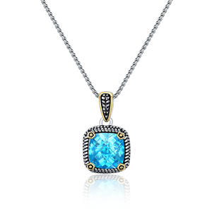 "ST2764P-Designer Inspired Cable Two-tone Square Pendant With An Aquamarine Stone In Brass Suspends A 18inch 2mm Box Chain With  2"" Extender From China Reliable Jewelry Manufacturer"