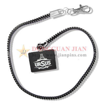 Zipper Lanyards with Rubber Emblem