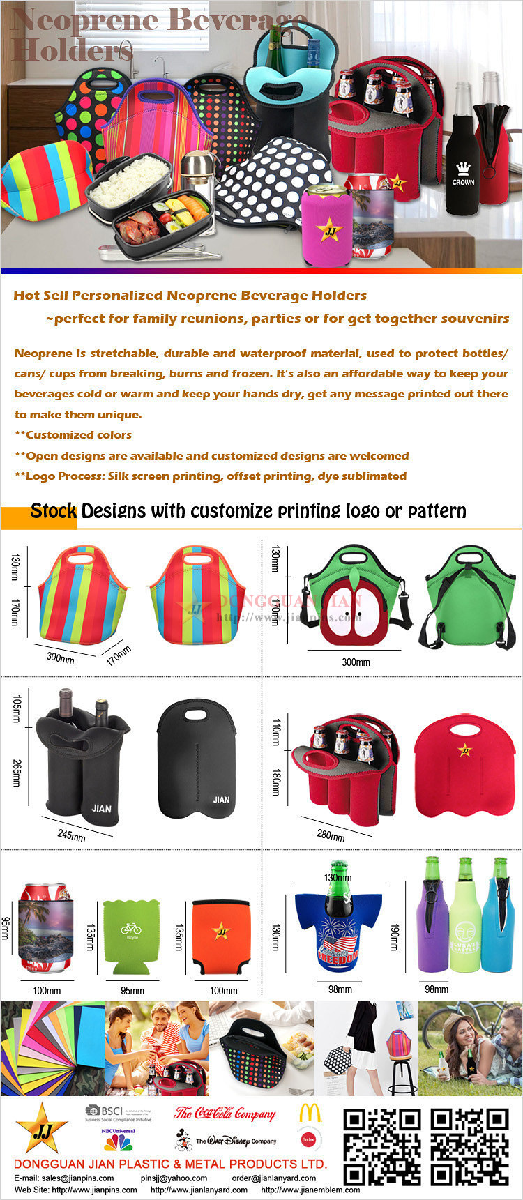 Hot Selling personalizada Neoprene Beverage titulares