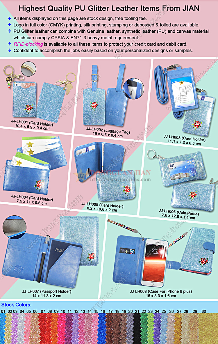 PU Glitter Leather Products From JIAN