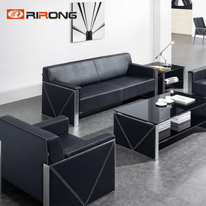 Office Black Grey  Genuine Leather Sofa
