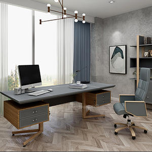 160cm L shape Home Office Design White Gray Wooden Small Study Table