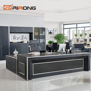 240cm Big Black Office Executive Director Manager Table White L Shaped Desk