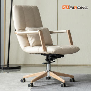 Modern Leather Fabric Wooden Office Executive Middle Back Computer Chair