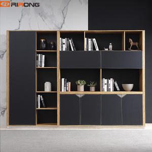 280cm Custom Black Leather Steel Wooden Office Filling Cabinets