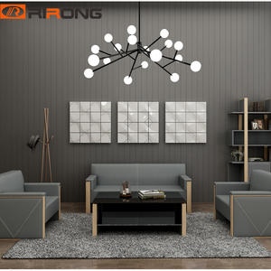 Modern Gray Genuine Leather office Grey Sofa Set