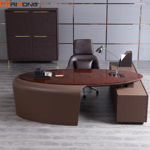 Luxury Italy Design Brown Office L shape executive table