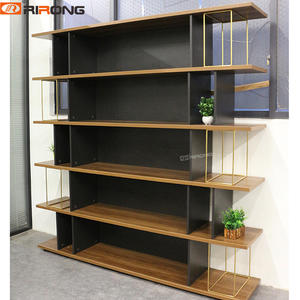 Golden Steel Walnut Wood Office Storage Cabinets