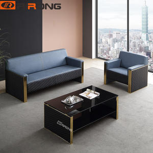 Blue Genuine Leather office sofa set