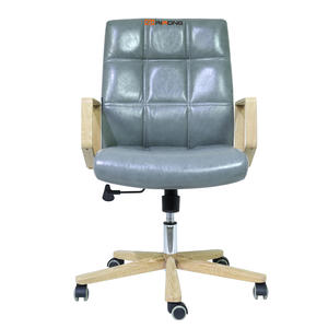 Nordic Design Wooden Leather Grey office chair