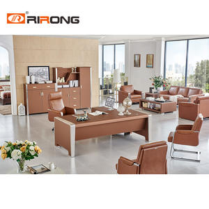 Brown Leather Office Furniture Office Executive Desk Set