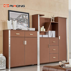 Small Brown Leather Steel Office Storage Cabinets