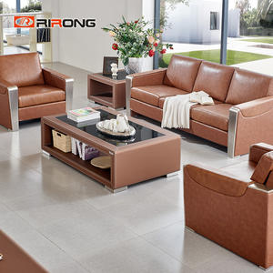 Brown Steel 3 Seater Office Leather Sofa Set