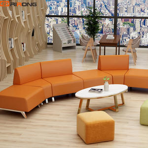 Modern Orange Yellow Colorful Office Reception Leather Sectional Sofa