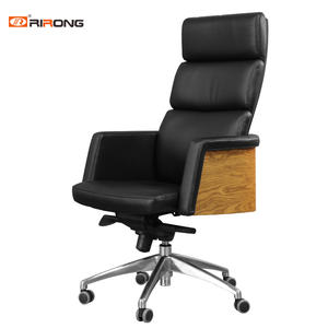 Black Leather Executive Wooden Walnut Office Chair