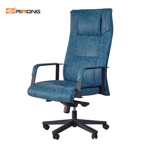 Black Blue Steel Director Manager Leather Office executive chair