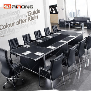 Modern Black Office Conference Table Set
