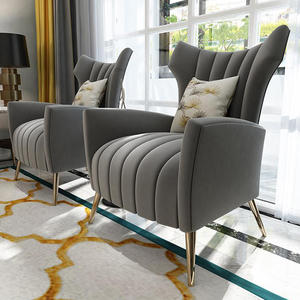 Gray Fabric Study Living Room Furniture Modern Single Sofa Chair