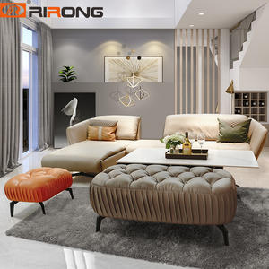 Modern Living Room Leather Fashion Sofa furniture Minimalist leather Sofa Stool