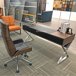 160cm Steel Leather Home office Italy Simple Design office pedestal desk