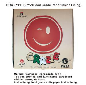 logo printing customize food grade paper inside lining corrugate pizza box