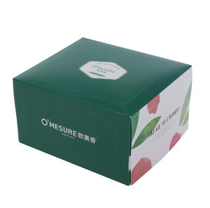 green cake box with inner pocket for disposable tray and fork