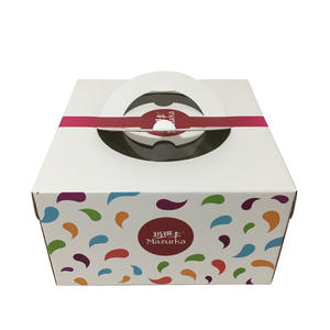Die-cut Build-In Paper Handle Cake Box