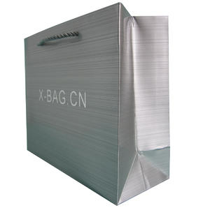 creative metallic silver paper bag with shinny logo sticked
