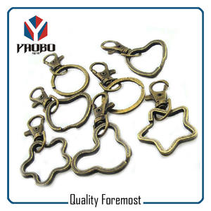 Shaped Key Ring,antique brass split ring with snap hook