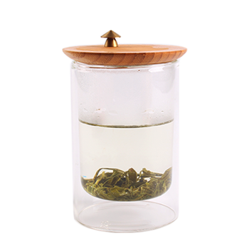 Glass Tea Cup with a Bamboo Lid ,Glass Mug, Water Cup,Coffee Cup itemprop=