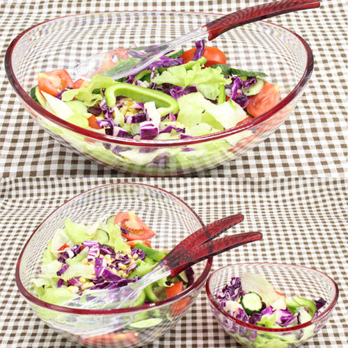 Salad bowl with 4pcs small food bowls and servers