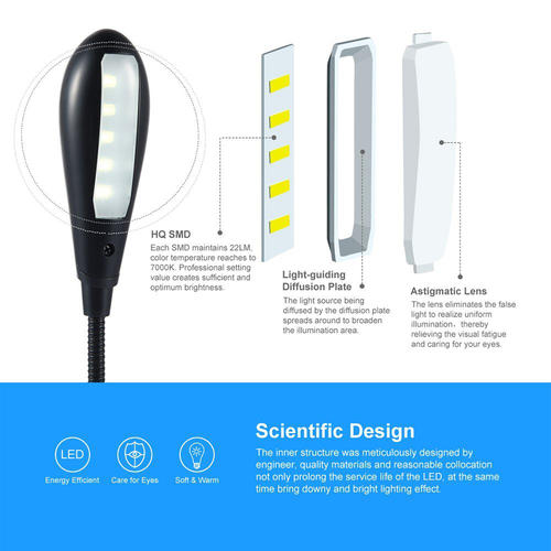Rechargeable 5 LED Book Light Clip On LED Light Reading Lamp